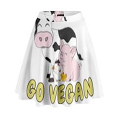 Friends Not Food   Cute Pig And Chicken High Waist Skirt