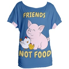 Friends Not Food   Cute Pig And Chicken Women s Oversized Tee