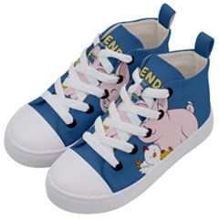 Friends Not Food   Cute Pig And Chicken Kid s Mid Top Canvas Sneakers by Valentinaart