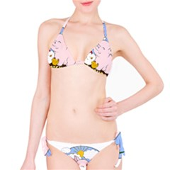 Friends Not Food   Cute Pig And Chicken Bikini Set by Valentinaart