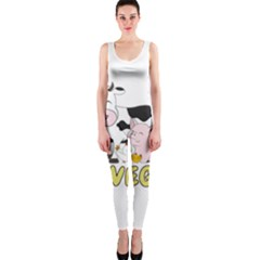 Friends Not Food   Cute Cow, Pig And Chicken One Piece Catsuit by Valentinaart