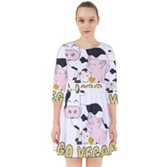 Friends Not Food   Cute Cow, Pig And Chicken Smock Dress