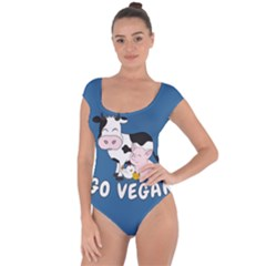 Friends Not Food   Cute Cow, Pig And Chicken Short Sleeve Leotard  by Valentinaart