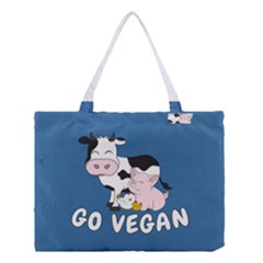 Friends Not Food   Cute Cow, Pig And Chicken Medium Tote Bag by Valentinaart