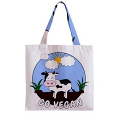 Friends Not Food   Cute Cow Grocery Tote Bag by Valentinaart