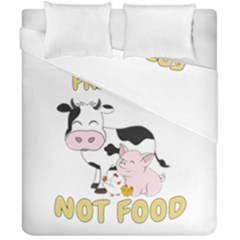 Friends Not Food   Cute Cow, Pig And Chicken Duvet Cover Double Side (california King Size) by Valentinaart