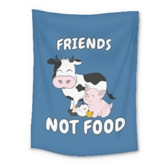 Friends Not Food   Cute Cow, Pig And Chicken Medium Tapestry by Valentinaart