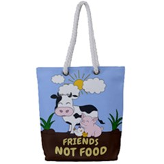 Friends Not Food   Cute Cow, Pig And Chicken Full Print Rope Handle Tote (small) by Valentinaart