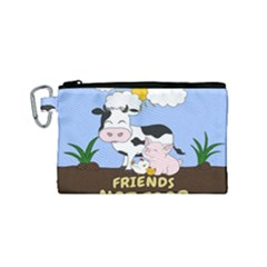 Friends Not Food   Cute Cow, Pig And Chicken Canvas Cosmetic Bag (small) by Valentinaart
