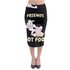 Friends Not Food   Cute Cow, Pig And Chicken Midi Pencil Skirt