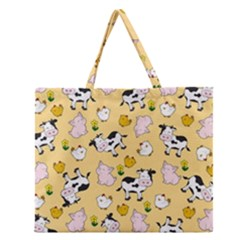 The Farm Pattern Zipper Large Tote Bag by Valentinaart