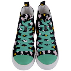 The Farm Pattern Women s Mid Top Canvas Sneakers