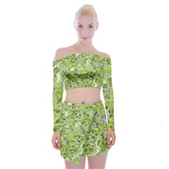 Leaves Fresh Off Shoulder Top With Mini Skirt Set by jumpercat