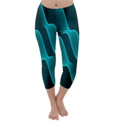 Background Light Glow Blue Green Capri Winter Leggings