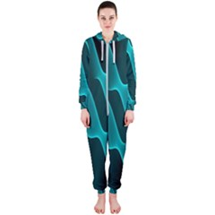 Background Light Glow Blue Green Hooded Jumpsuit (ladies)