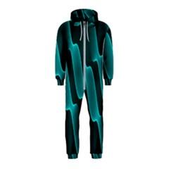 Background Light Glow Blue Green Hooded Jumpsuit (kids)