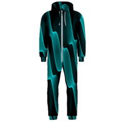 Background Light Glow Blue Green Hooded Jumpsuit (men)