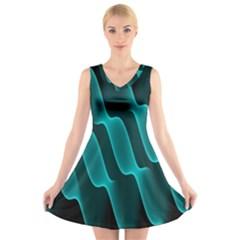 Background Light Glow Blue Green V Neck Sleeveless Skater Dress