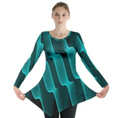 Background Light Glow Blue Green Long Sleeve Tunic