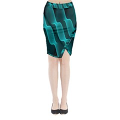 Background Light Glow Blue Green Midi Wrap Pencil Skirt