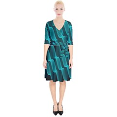 Background Light Glow Blue Green Wrap Up Cocktail Dress