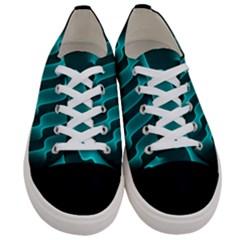 Background Light Glow Blue Green Women s Low Top Canvas Sneakers