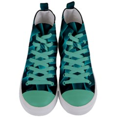 Background Light Glow Blue Green Women s Mid Top Canvas Sneakers