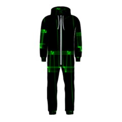 Background Signal Light Glow Green Hooded Jumpsuit (kids)