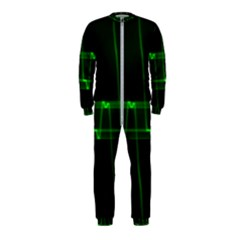 Background Signal Light Glow Green Onepiece Jumpsuit (kids)