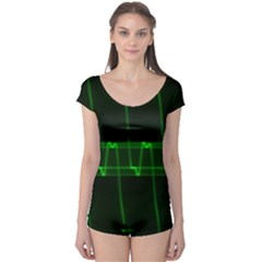 Background Signal Light Glow Green Boyleg Leotard