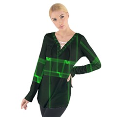 Background Signal Light Glow Green Tie Up Tee