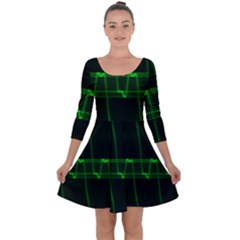 Background Signal Light Glow Green Quarter Sleeve Skater Dress