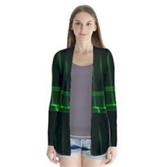 Background Signal Light Glow Green Drape Collar Cardigan