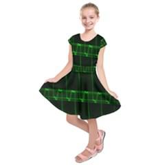 Background Signal Light Glow Green Kids  Short Sleeve Dress