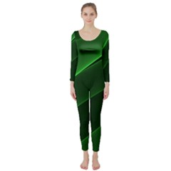 Background Light Glow Green Long Sleeve Catsuit