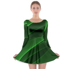 Background Light Glow Green Long Sleeve Skater Dress