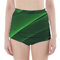 Background Light Glow Green High Waisted Bikini Bottoms