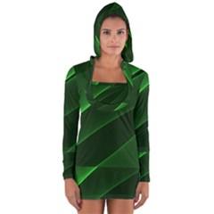 Background Light Glow Green Long Sleeve Hooded T Shirt