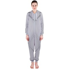 Background Light Glow White Grey Hooded Jumpsuit (ladies)