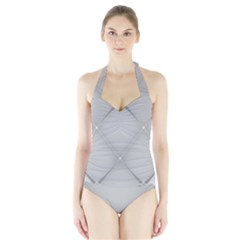 Background Light Glow White Grey Halter Swimsuit