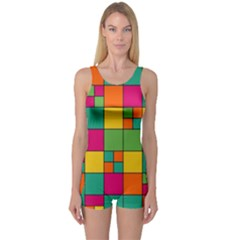 Abstract Background Abstract One Piece Boyleg Swimsuit