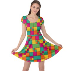 Abstract Background Abstract Cap Sleeve Dress