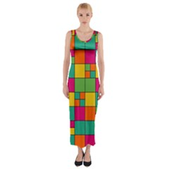 Abstract Background Abstract Fitted Maxi Dress