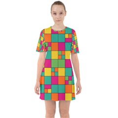 Abstract Background Abstract Sixties Short Sleeve Mini Dress