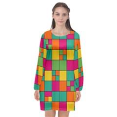 Abstract Background Abstract Long Sleeve Chiffon Shift Dress