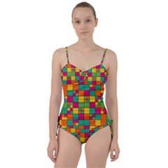 Abstract Background Abstract Sweetheart Tankini Set