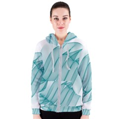 Background Light Glow Blue Women s Zipper Hoodie