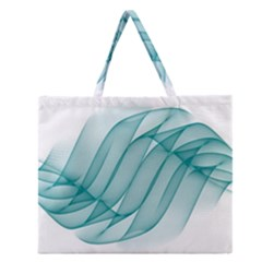 Background Light Glow Blue Zipper Large Tote Bag