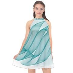 Background Light Glow Blue Halter Neckline Chiffon Dress