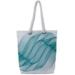 Background Light Glow Blue Full Print Rope Handle Tote (small)